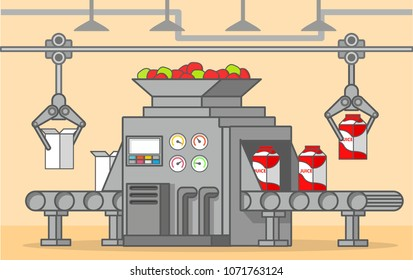 Conveyer belt factory of a box fruit drink.Production and bottling of apple juice.Food factory machine.Line art flat vector.