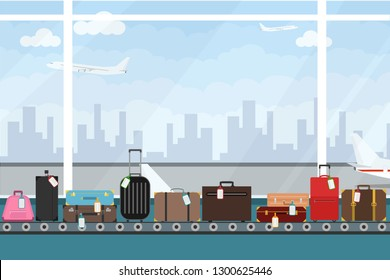 Conveyor belt in airport hall. Baggage claim. Airport conveyor belt with passenger luggage bags vector illustration. Airport baggage belt.