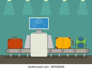 Conveyor belt at airport scanner. Flat vector illustration in cartoon style