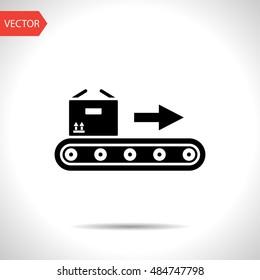 Conveyor belt with box vector flat icon
