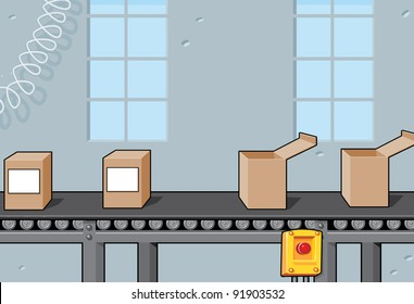 Conveyor Belt with Boxes