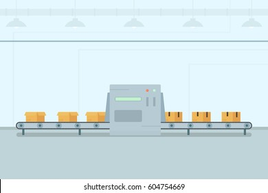 Conveyor belt with boxes on factory. Automatic packing of goods. Flat vector image