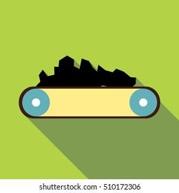 Conveyor belt carrying coal icon. Flat illustration of conveyor belt carrying coal vector icon for web