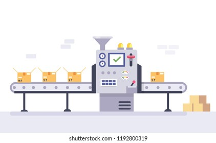 Conveyor belt in factory with assembly line. Technology and packing concept in flat style. Industrial machine vector illustration.
