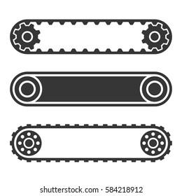 Conveyor Belt Line Set on White Background. Vector