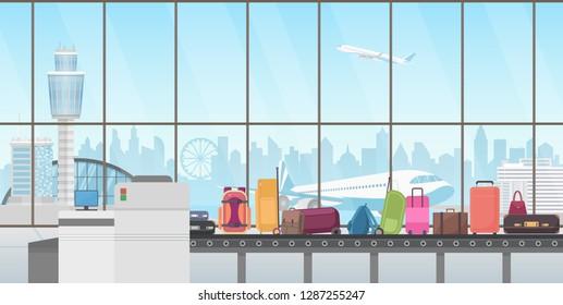 Conveyor belt in modern airport hall. Baggage claim cartoon vector illustration.