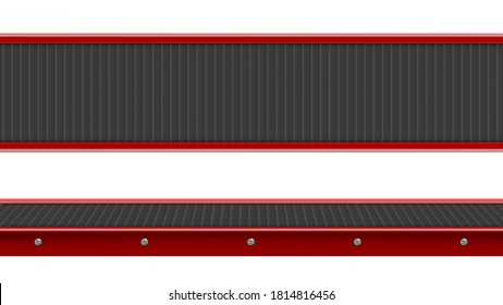 Conveyor belt top and side view, industrial empty processing production line, automated manufacturing engineering equipment for factory isolated on white background, Realistic 3d vector illustration