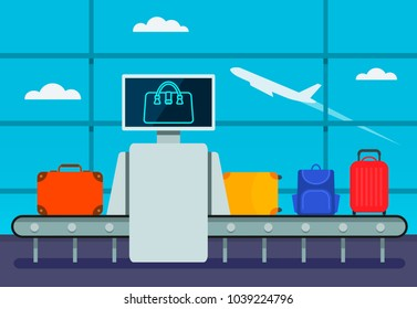 Conveyor belt transport safety airport luggage scanner with control pad and screens. Luggage examination. Terminal Baggage Security Check.Vector illustration in cartoon style