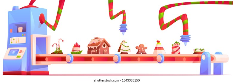 Conveyor with Christmas candy and sweets, gingerbread house, pudding, traditional xmas bakery, desserts and cakes moving on factory belt isolated on white background. Cartoon vector illustration