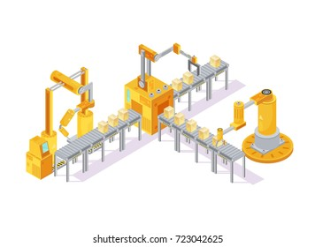 Conveyor equipment isometric composition with robotic hand for welding and boxes on lines 3d vector illustration