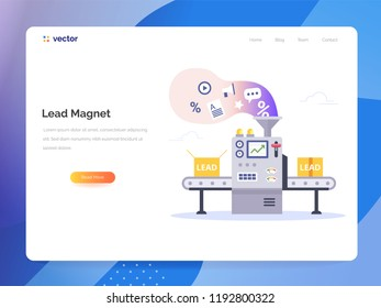Conveyor generate lead magnets. Managing Sales vector concept in flat style. Marketing technology vector illustration.