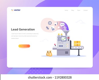 Conveyor generate leads. Managing sales vector concept in flat style. Marketing technology vector illustration.