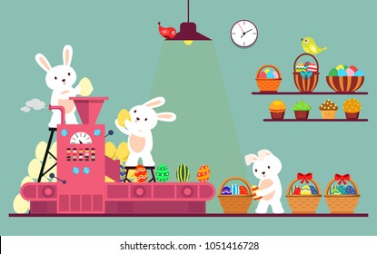 Conveyor line with rabbits painting easter eggs. Holiday bunny at automation line packaging eggs in baskets for easter celebration, hare at belt manufacturing gifts. Spring holiday theme