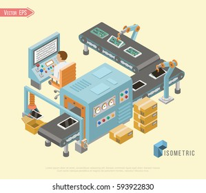 Conveyor operator and automotive manufacture robotic assembly line. Isometric vertical banners webpage design.  Isolated vector illustration