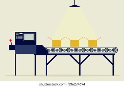 Conveyor system in flat design. Vector illustration