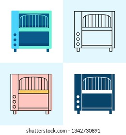 Conveyor toaster icon set in flat and line styles
