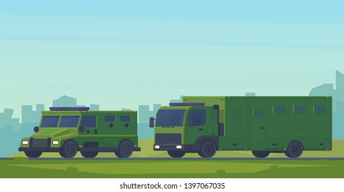 Convoy with armored police van heavy car and mobile truck prison. Swat car special military off road truck. Police special transport for the transport and protection of prisoners and arrested.