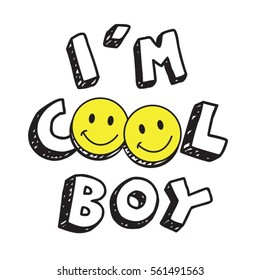 Coo boy l smile typography, tee shirt graphics, vectors