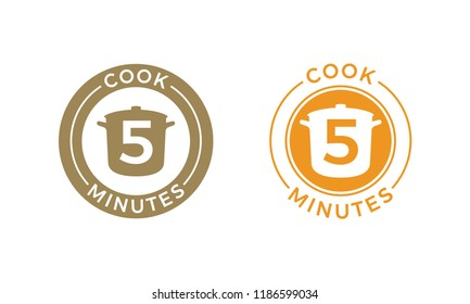 Cook 5 minutes icon for cereal and pasta cooking time on food package. Vector saucepan and 5 minutes template design