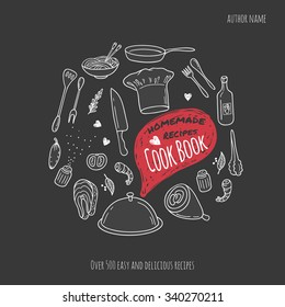 Cook book cover with hand drawn food illustrations and doodle speech bubble. Culinary background in vector