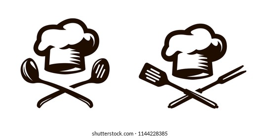 Cook, chef logo or icon. Labels for the menu of restaurant or cafe. Vector symbol