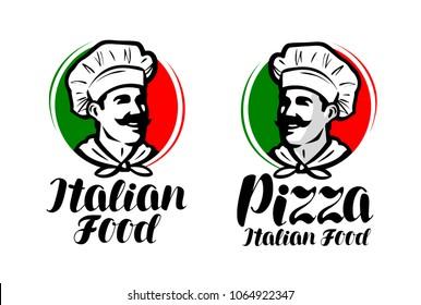 Cook, chef logo. Italian food, pizza symbol or label. Vector illustration typographic design