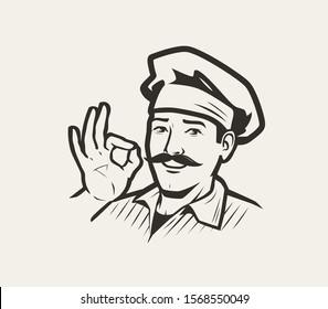 Cook, chef logo. Restaurant, cooking symbol. Sketch vector illustration