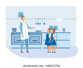 Cook Chef Praises Children in Uniform at Kitchen. Man Showing Thumbs-up Sign. Masterchef and Cookee. Little Helpers. Child Labor. Cartoon People Character. Flat Cook-Room Interior. Vector Illustration