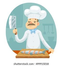 Cook cut fish mascot seafood cartoon design vector illustration