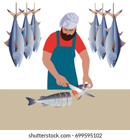 Cook cutting the sea fish into pieces. Vector illustration