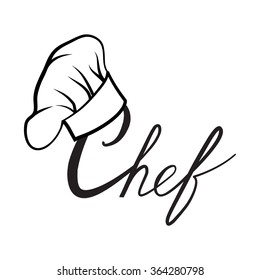 b4bb3bd5dd5 Cook hat. Drawn hat chef cook. Hat chef-cooker. Vector black hat
