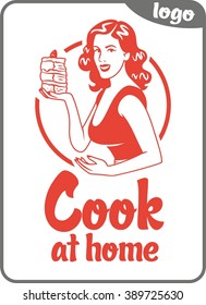 cook at home beautiful girl holds a pie simple sign red circle