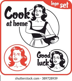 cook at home girl in an apron holding a bowl red circle logo set
