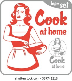 cook at home pin-up girl in apron logo set