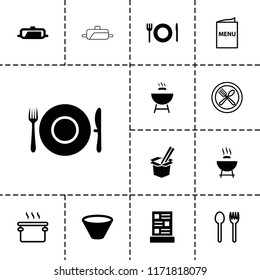 Cook icon. collection of 13 cook filled and outline icons such as pan, barbeque, menu, bowl. editable cook icons for web and mobile.