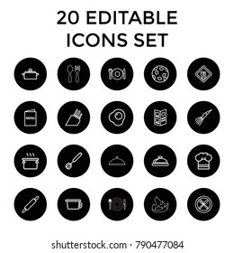 Cook icons. set of 20 editable outline cook icons such as plate fork and spoon, dish, pan, pot, spoon and fork, chef hat. best quality cook elements in trendy style.