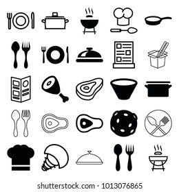 Cook icons. set of 25 editable filled and outline cook icons such as plate fork and spoon, dish, barbeque, chef hat, bowl, pan, extinct sea creature, beef, menu