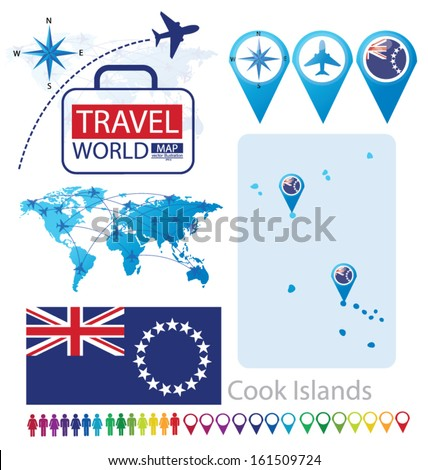Cook Islands On World Map.Cook Islands Flag World Map Travel Stock Vector Royalty Free
