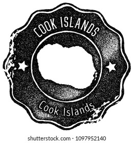 5dc0bbde82b Cook Islands map vintage black stamp. Retro style handmade island label