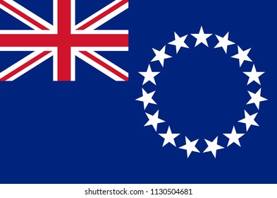Cook Islands national flag, official flag of Cook Islands accurate colors, true color