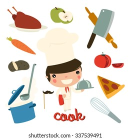 cook kid. children professions. vector character set.