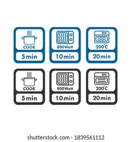 Cook minutes logo icon. microwave watt and oven cooker temperature, food cook package instruction symbols