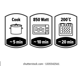 Cook minutes vector icon. 5, 10 and 20 minutes cooking in boiling saucepan, microwave watt and oven cooker temperature, food cook package instruction symbols