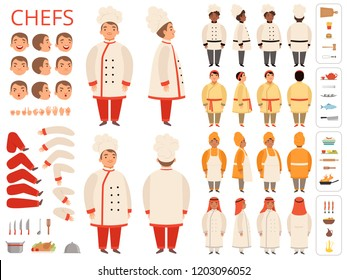 Cook national. Asian black arab indian chief body parts various poses and kitchen items vector constructor. Chief traditional cook, national cooker illustration
