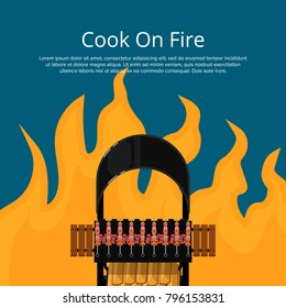 Cook on fire poster with meat skewers on charcoal grill. Garden BBQ picnic, traditional weekend food preparation. Outdoor cooking equipment with delicious meat on flame background vector illustration.
