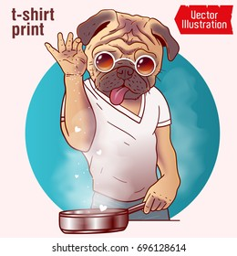 Cook salt meat - Nusret - saltbae. A pug cook is cooking a barbecue. Internet meme. Prints on clothes, t-shirts, greeting cards, banners, advertising. Isolated vector illustration on white background.