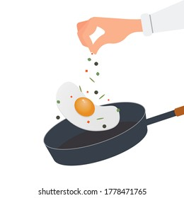 Cook scrambled eggs in a frying pan, sprinkle the dish with seasoning, spices, salt. The hand is seasoning the food. Vector illustration, flat cartoon color design, isolated on white background.