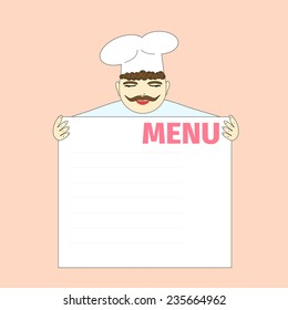 Cook shows the menu