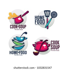cook soup and home food, vector collection of bowl full of tasty soup for your menu, logo, emblems and symbols