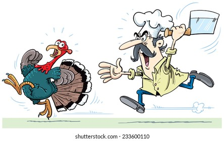 cook and turkey